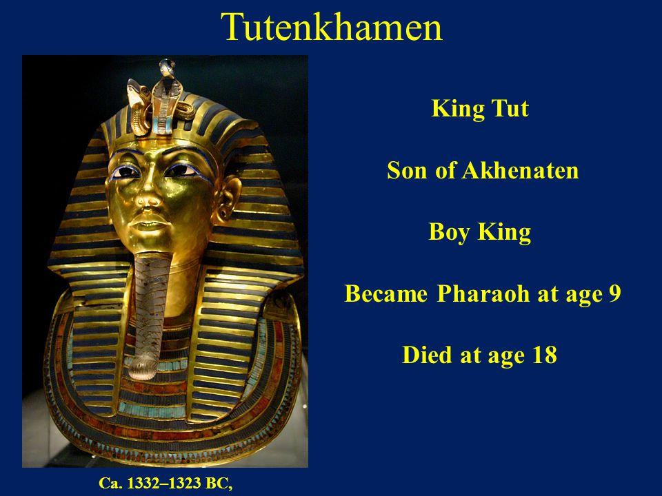 Tutenkhamen King Tut Son of Akhenaten Boy King Became Pharaoh at age 9