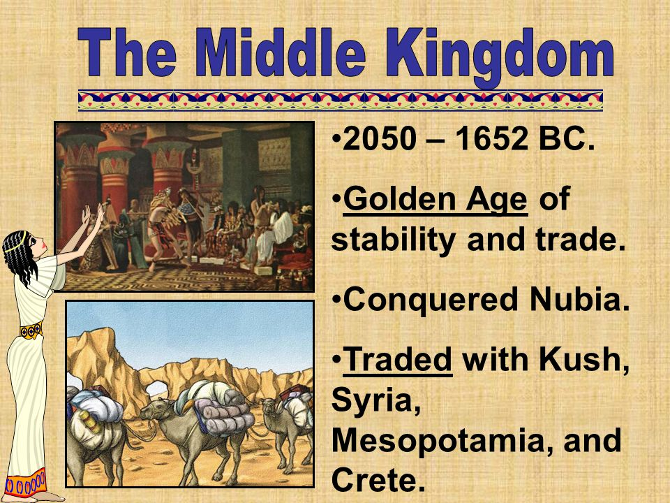 The Middle Kingdom 2050 – 1652 BC. Golden Age of stability and trade.