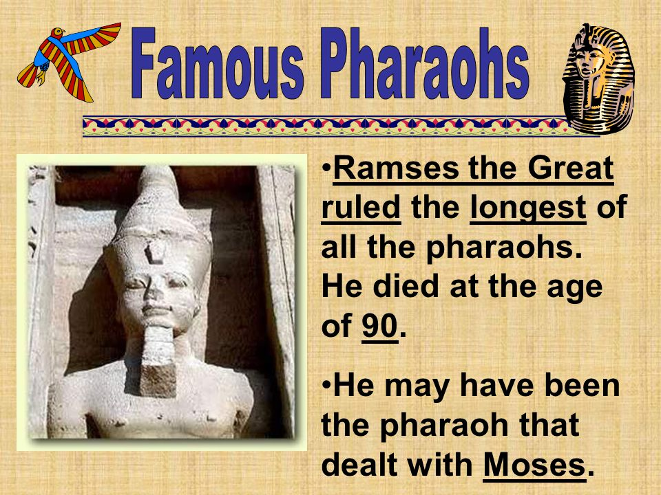 Famous Pharaohs Ramses the Great ruled the longest of all the pharaohs. He died at the age of 90.
