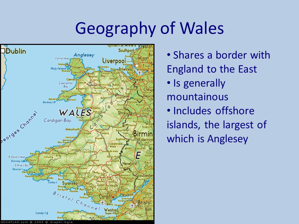 Geography of Wales Shares a border with England to the East