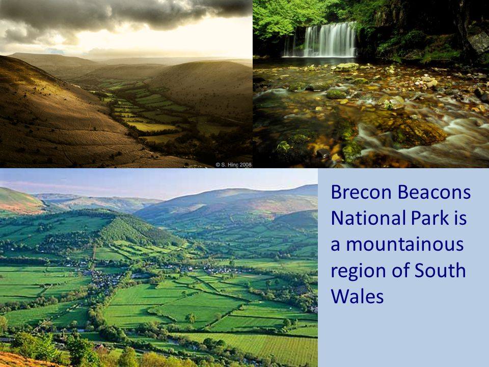 Brecon Beacons National Park is a mountainous region of South Wales