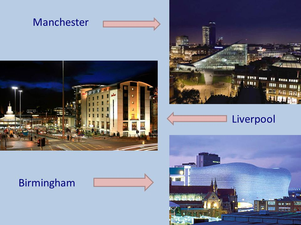 Manchester Liverpool Other large cities in England include: Birmingham