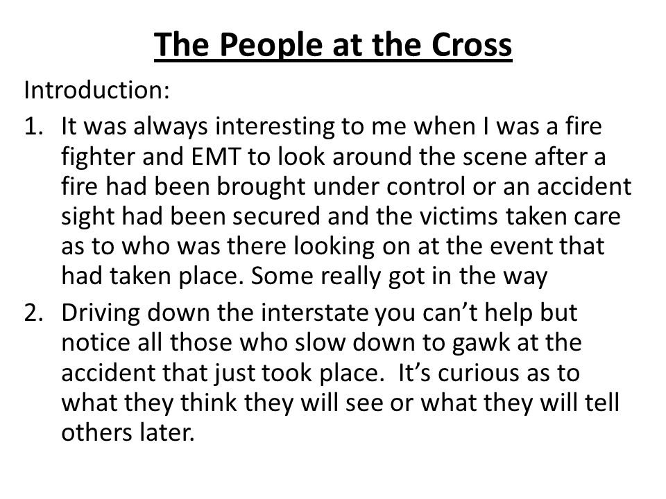 The People at the Cross Introduction: