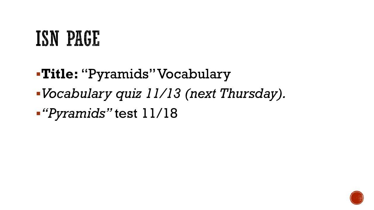 ISN PAGE Title: Pyramids Vocabulary