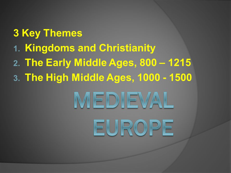 Medieval Europe 3 Key Themes Kingdoms and Christianity