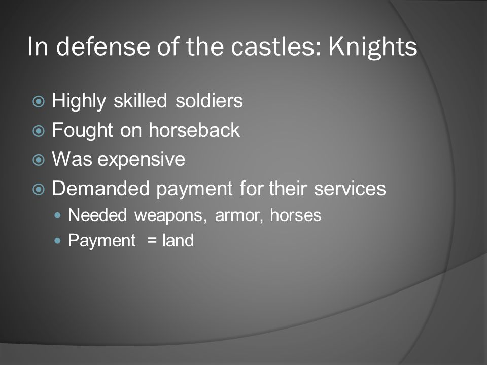 In defense of the castles: Knights