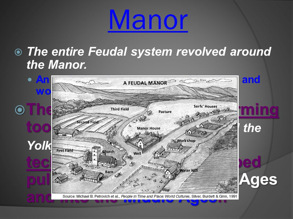 Manor The entire Feudal system revolved around the Manor. An agricultural estate operated by a lord and worked by peasants.