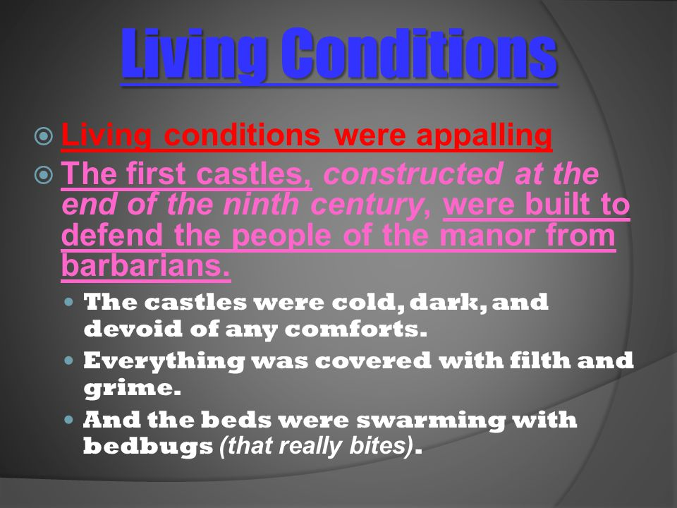 Living Conditions Living conditions were appalling