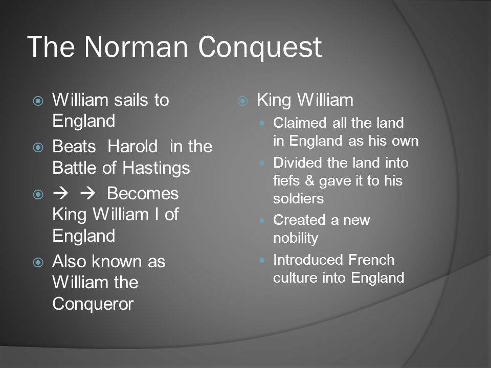 The Norman Conquest William sails to England