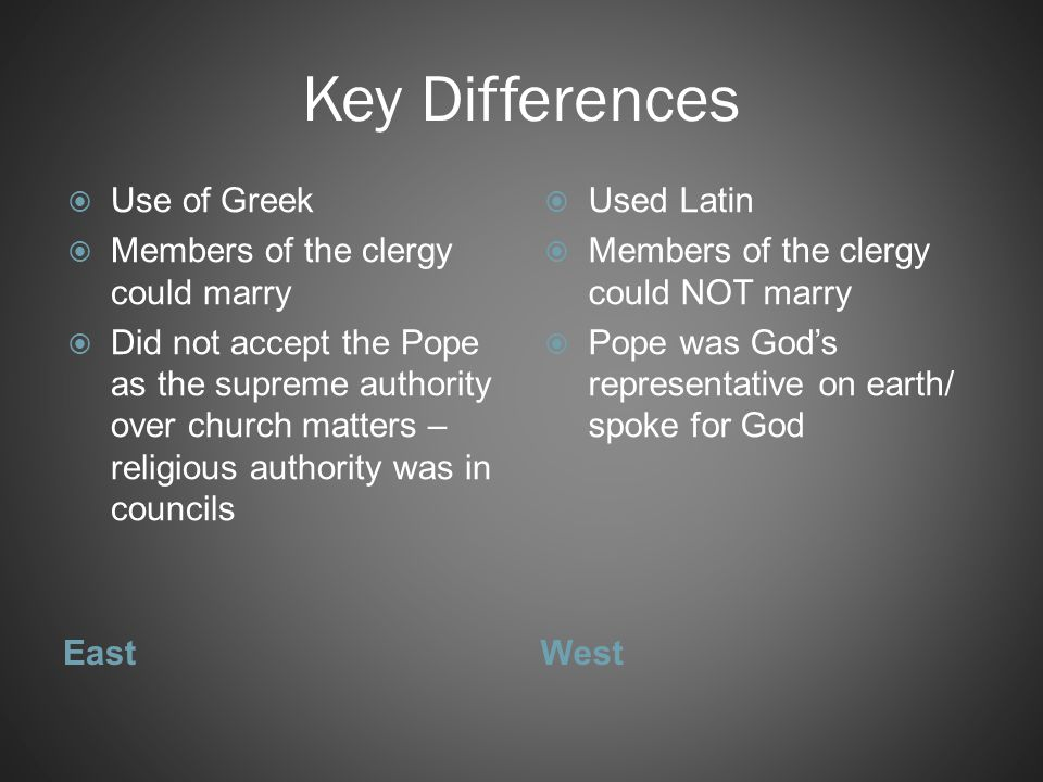 Key Differences Use of Greek Members of the clergy could marry