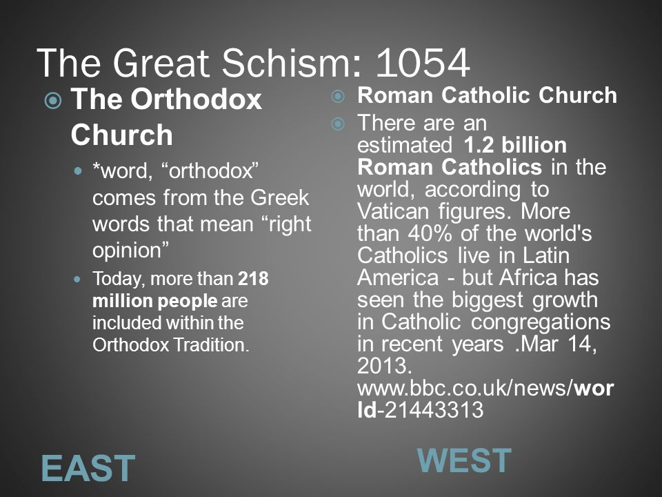 The Great Schism: 1054 EAST WEST The Orthodox Church