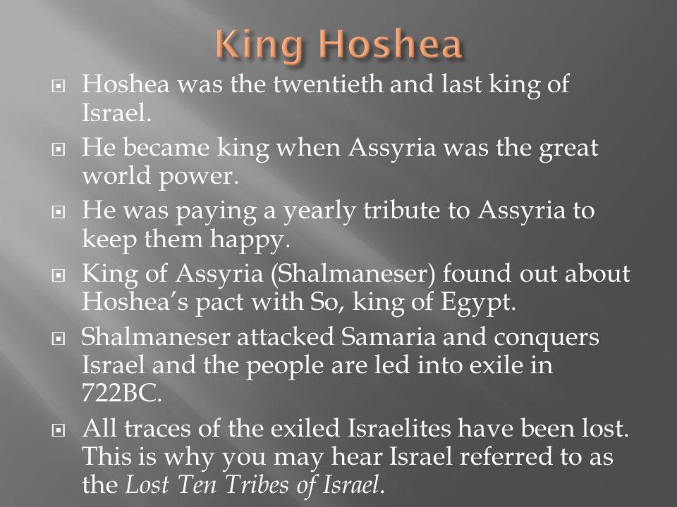King Hoshea Hoshea was the twentieth and last king of Israel.