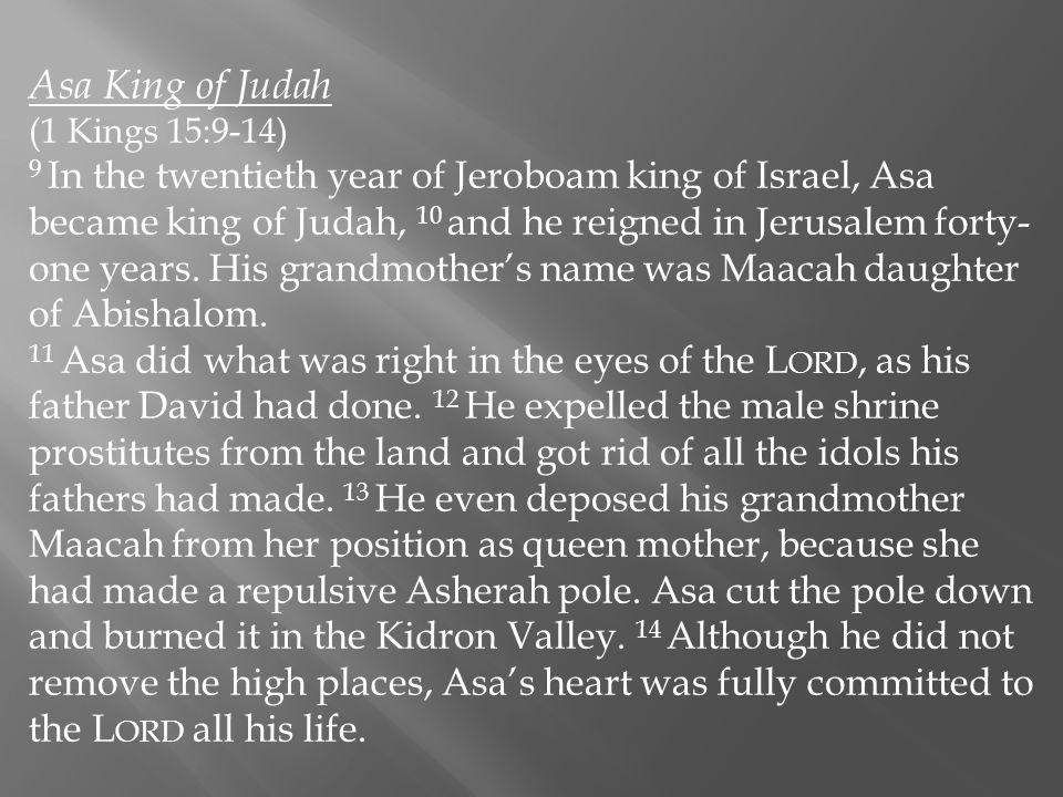 Asa King of Judah (1 Kings 15:9-14)