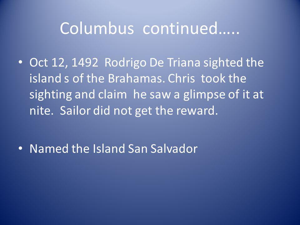 Columbus continued…..