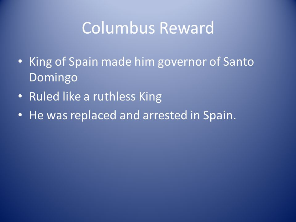 Columbus Reward King of Spain made him governor of Santo Domingo