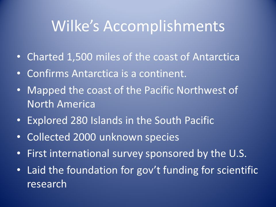 Wilke's Accomplishments