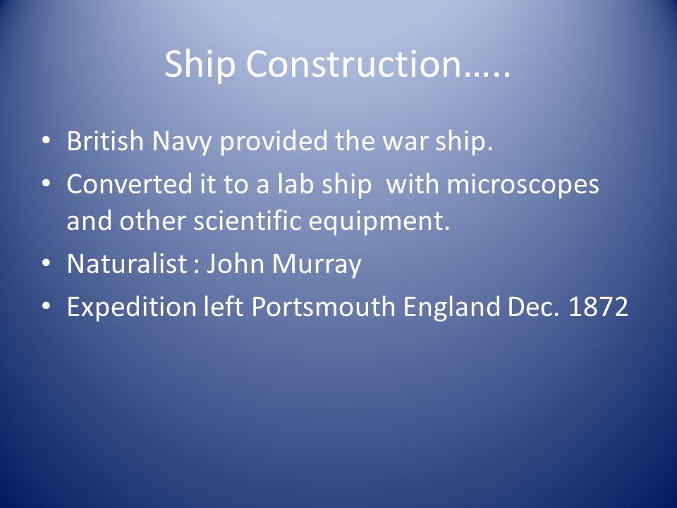 Ship Construction….. British Navy provided the war ship.
