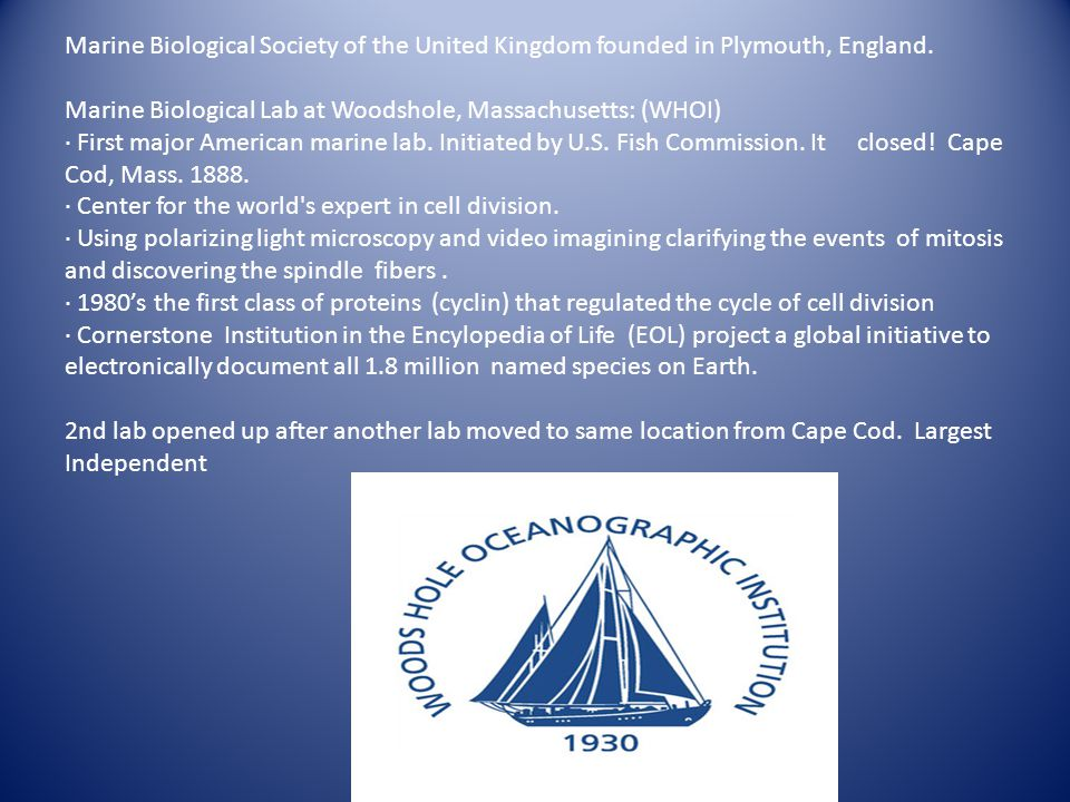 Marine Biological Society of the United Kingdom founded in Plymouth, England.
