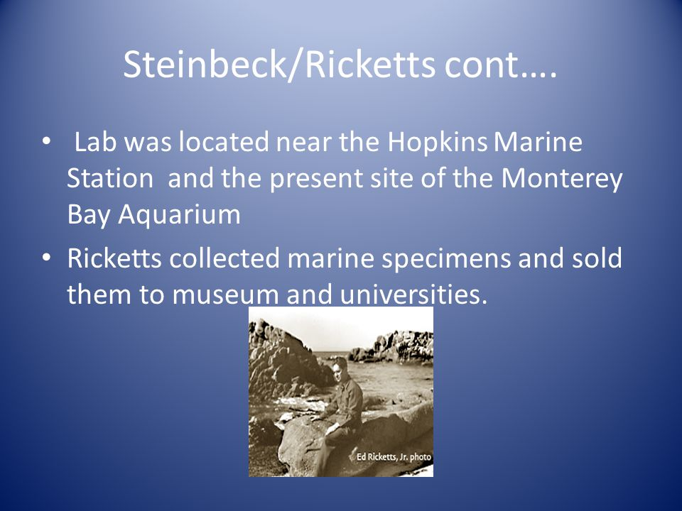 Steinbeck/Ricketts cont….
