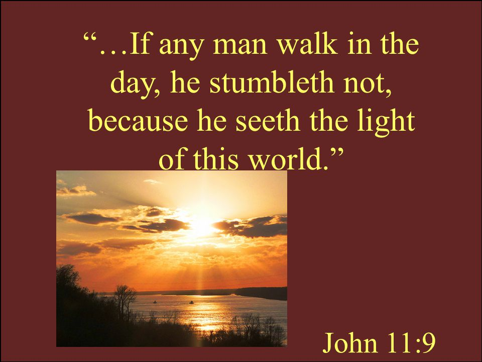 …If any man walk in the day, he stumbleth not, because he seeth the light of this world.