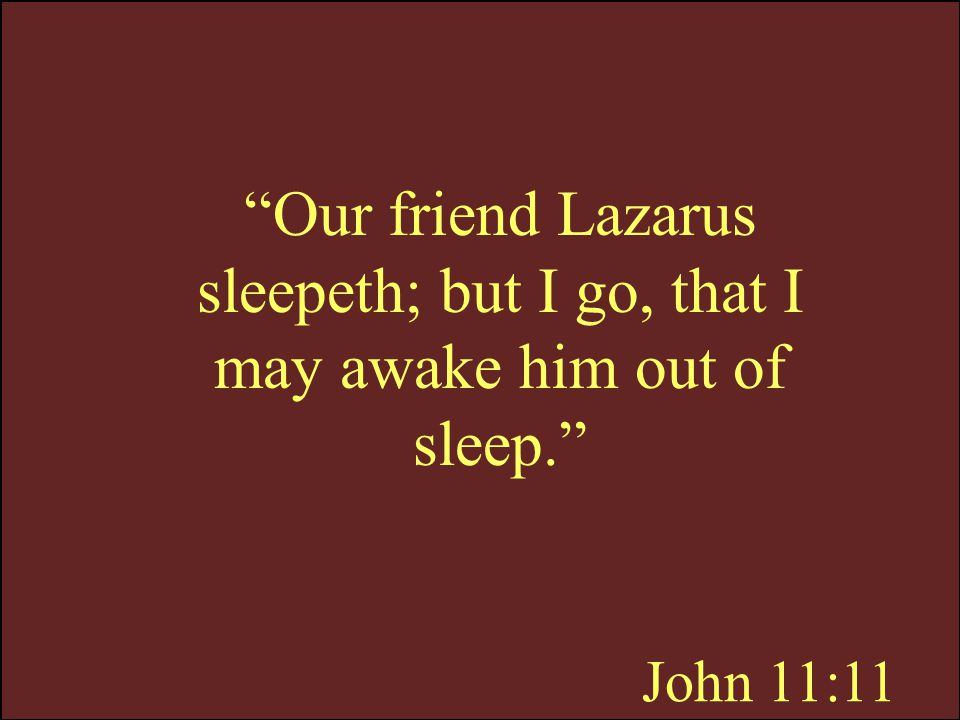 Our friend Lazarus sleepeth; but I go, that I may awake him out of sleep.