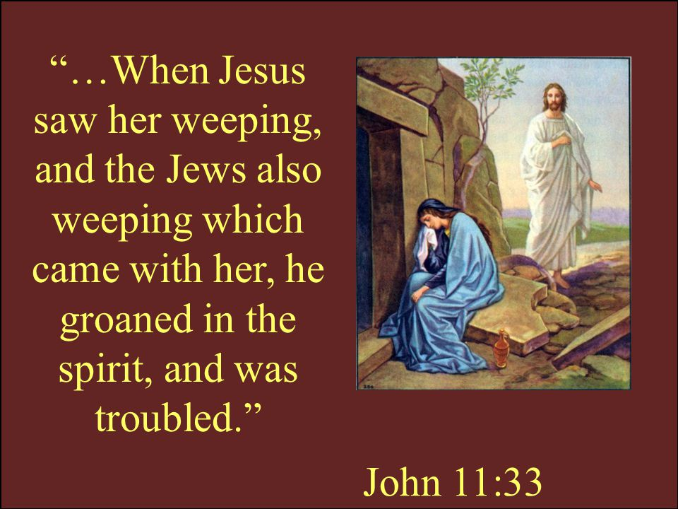 …When Jesus saw her weeping, and the Jews also weeping which came with her, he groaned in the spirit, and was troubled.