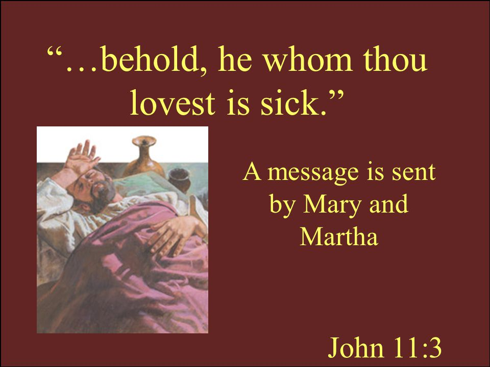 …behold, he whom thou lovest is sick.