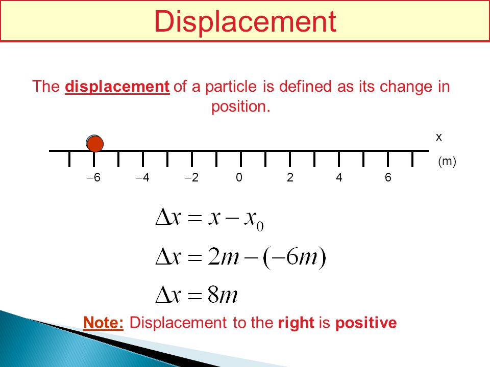 Displacement The displacement of a particle is defined as its change in position. x. (m) -6. -4.