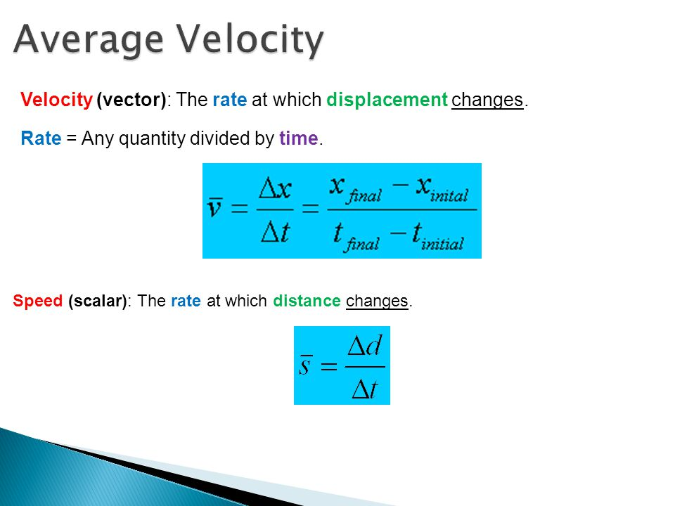 Average Velocity Velocity (vector): The rate at which displacement changes. Rate = Any quantity divided by time.