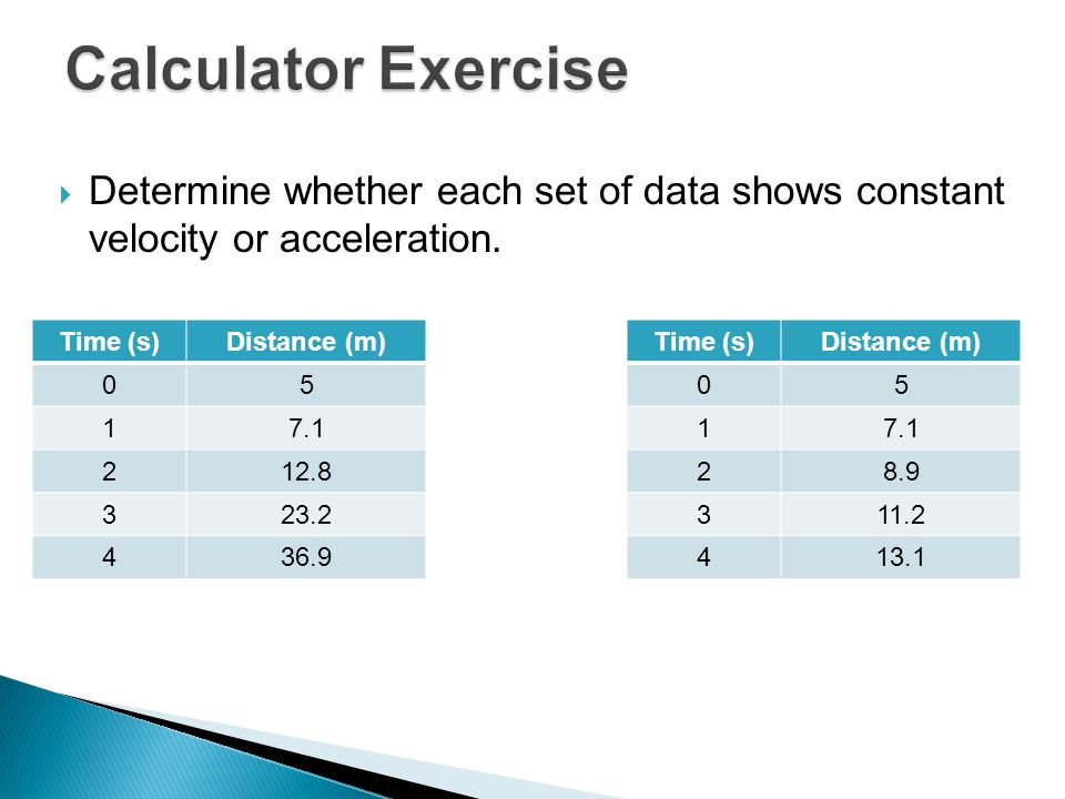 Calculator Exercise Determine whether each set of data shows constant velocity or acceleration. Time (s)