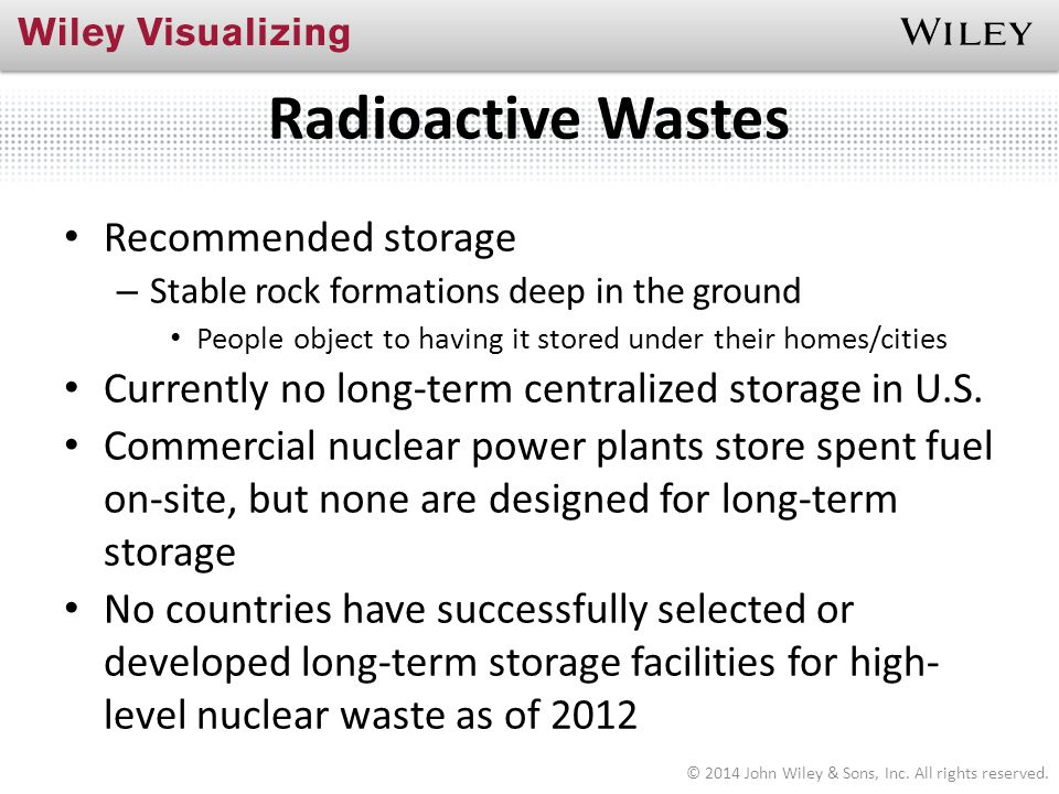 Radioactive Wastes Recommended storage