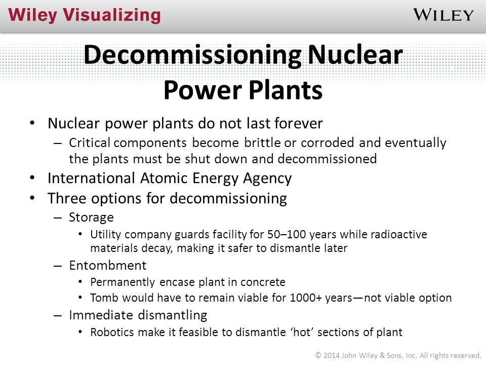 Decommissioning Nuclear Power Plants