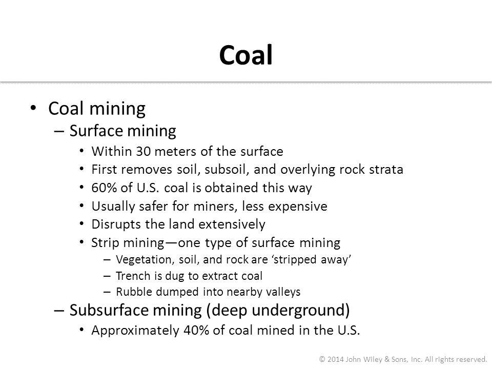 Coal Coal mining Surface mining Subsurface mining (deep underground)