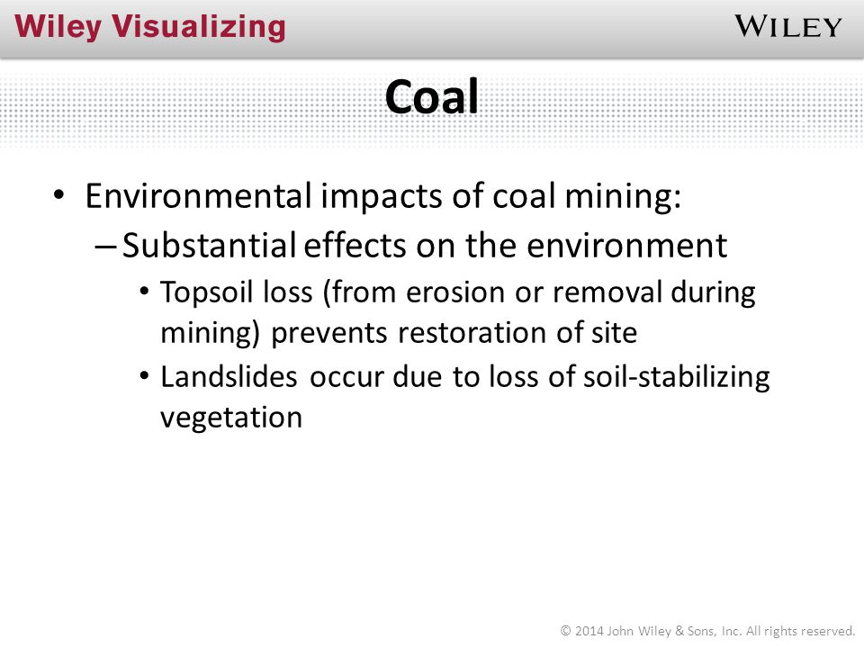 Coal Environmental impacts of coal mining: