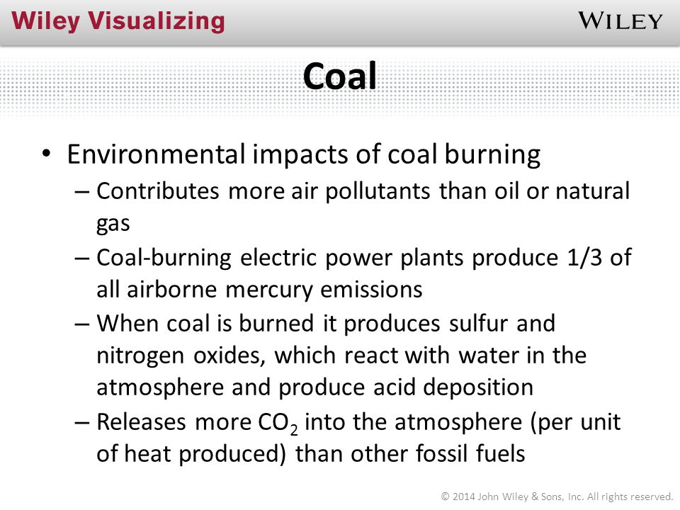 Coal Environmental impacts of coal burning