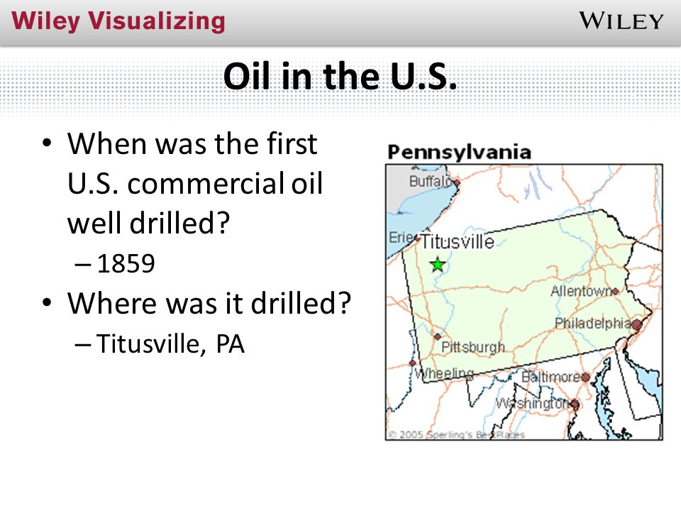 Oil in the U.S. When was the first U.S. commercial oil well drilled