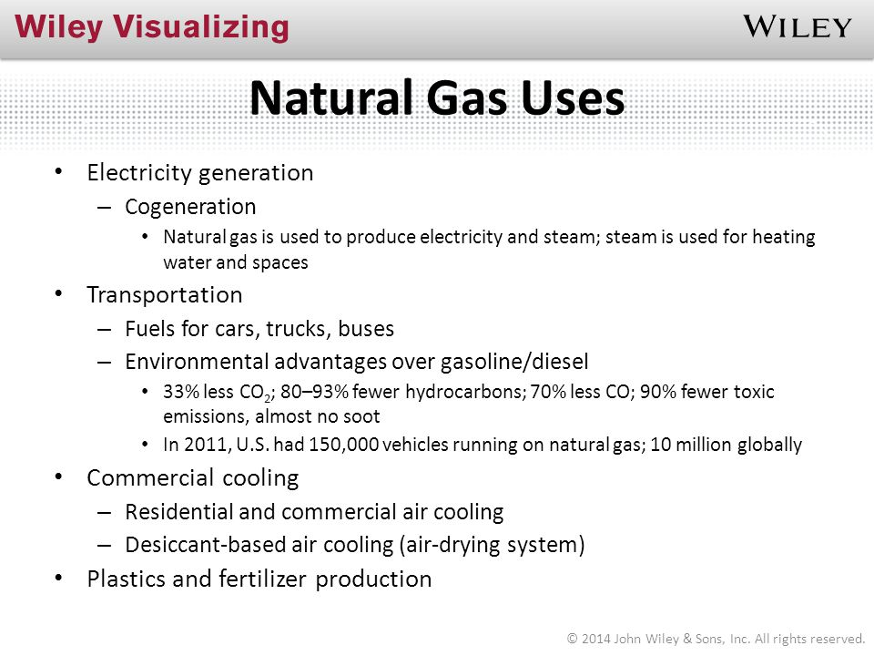 Natural Gas Uses Electricity generation Transportation