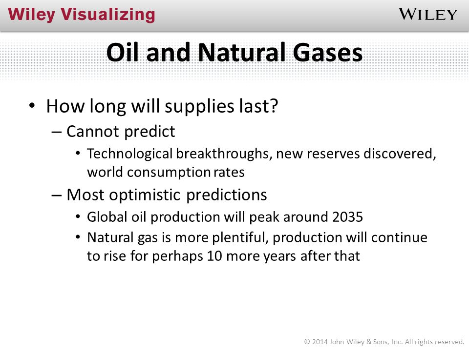 Oil and Natural Gases How long will supplies last Cannot predict
