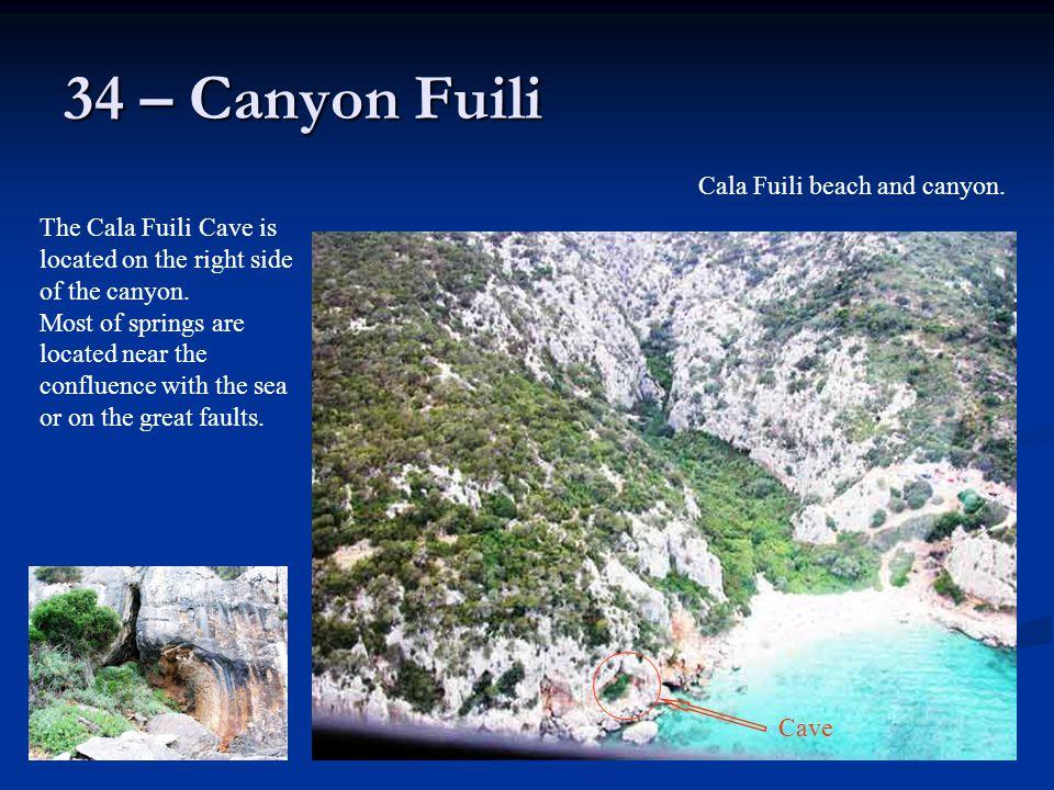 34 – Canyon Fuili Cala Fuili beach and canyon.