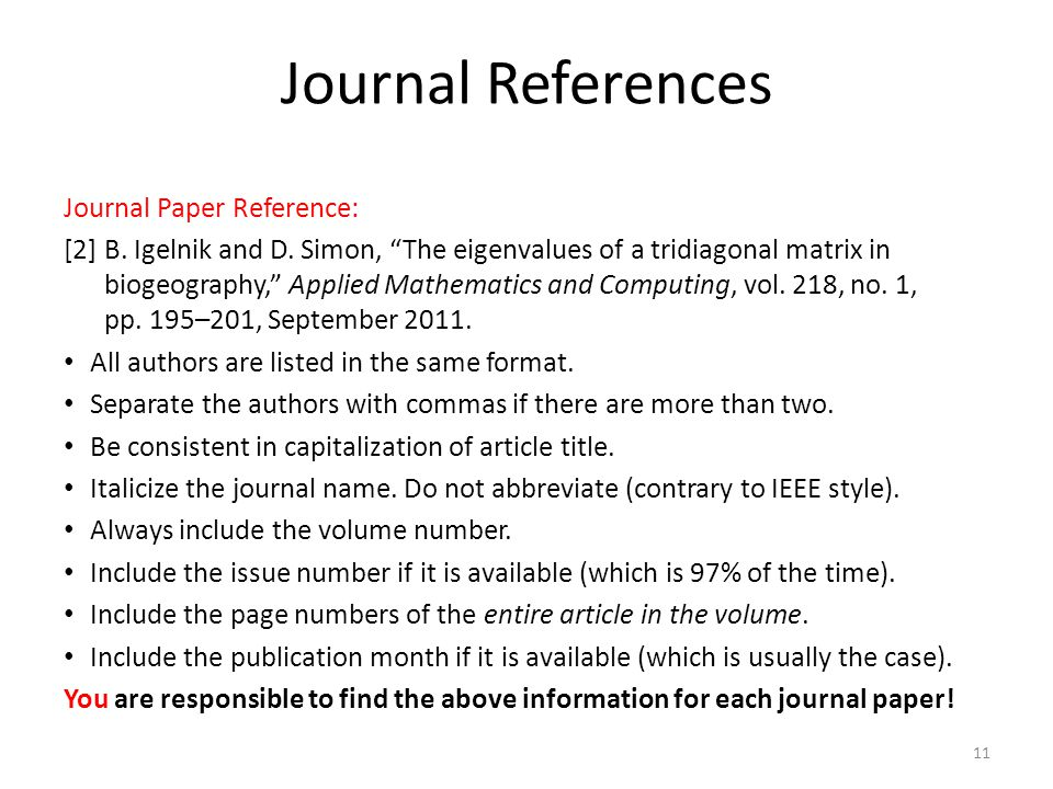 Journal References Journal Paper Reference: