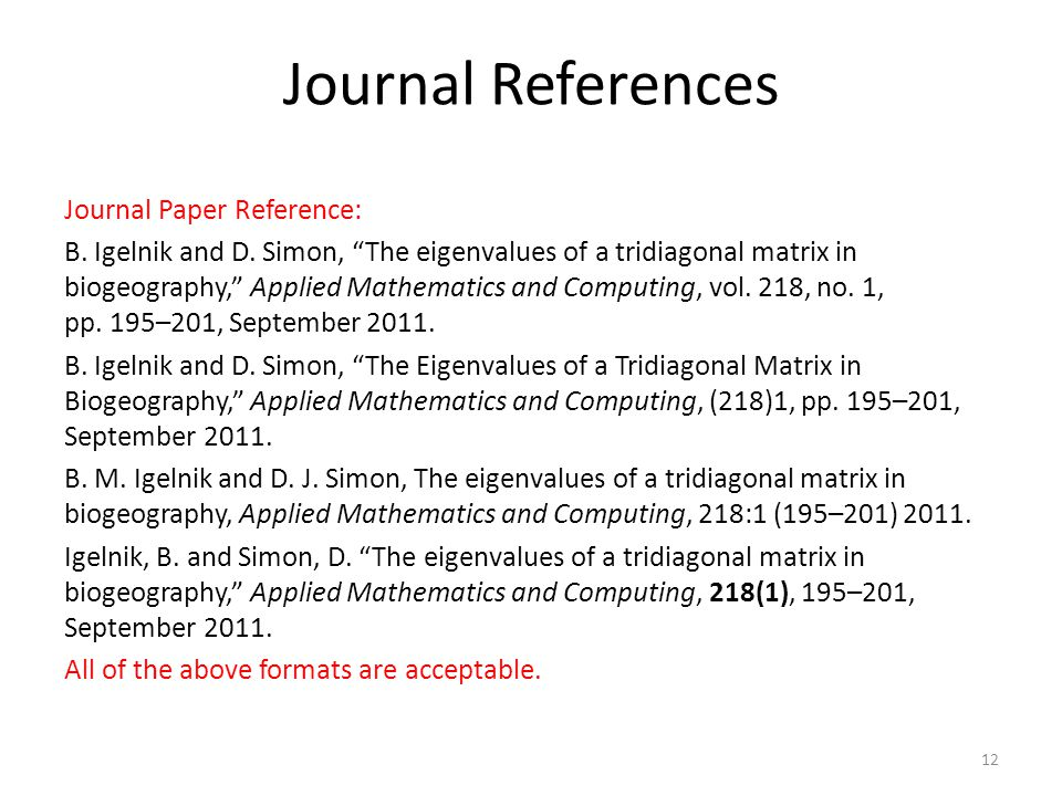 Journal References