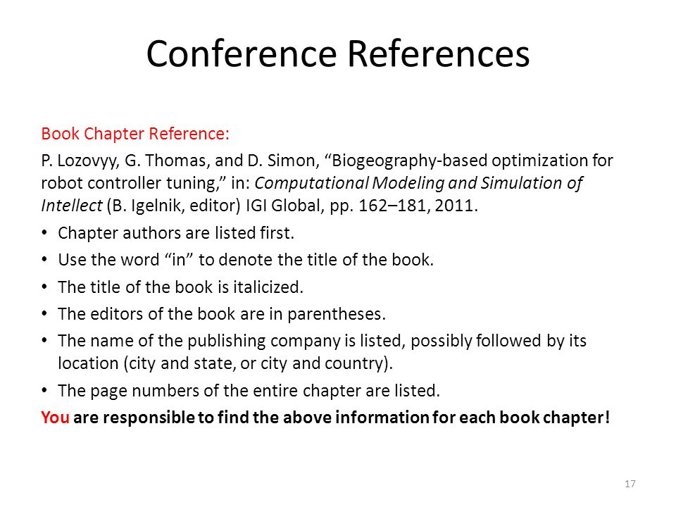 Conference References
