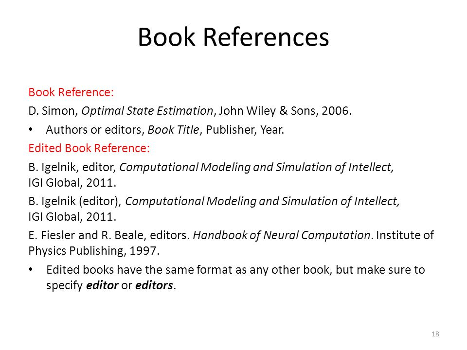 Book References Book Reference: