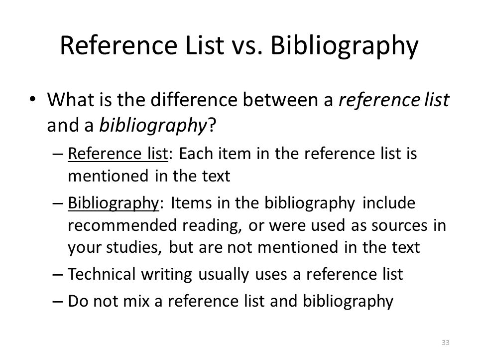 Reference List vs. Bibliography
