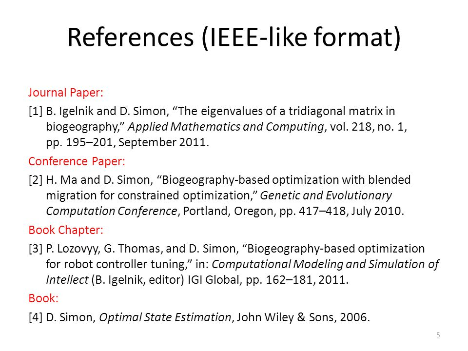 References (IEEE-like format)