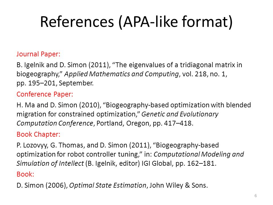 References (APA-like format)