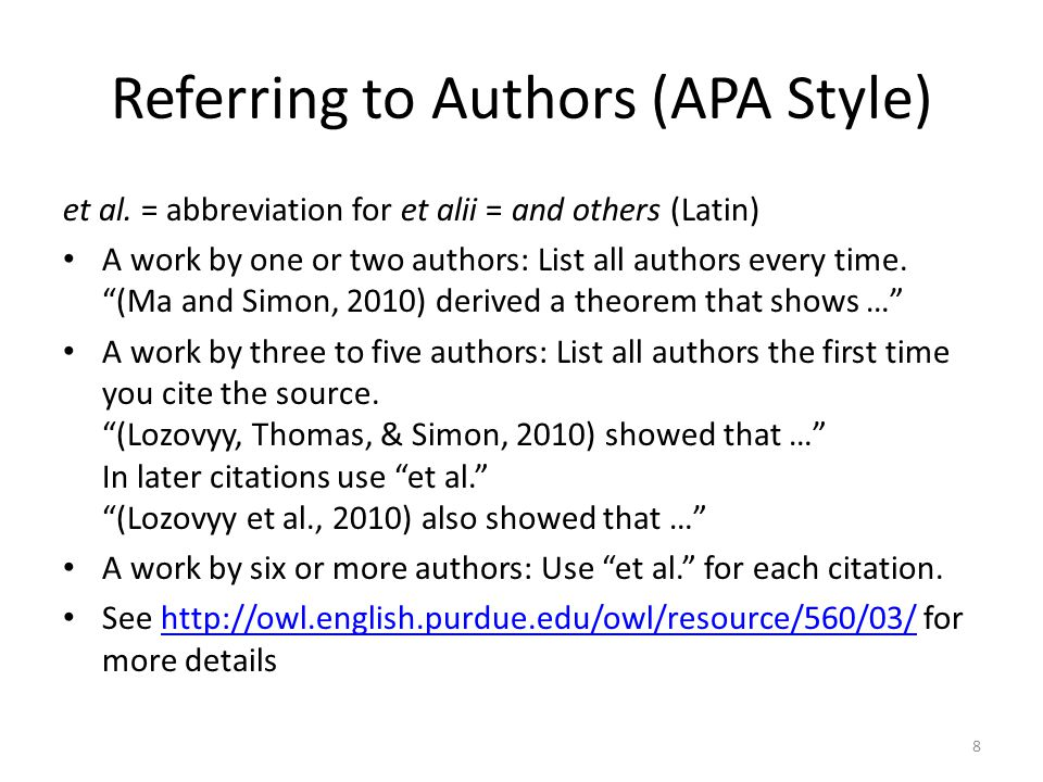 Referring to Authors (APA Style)