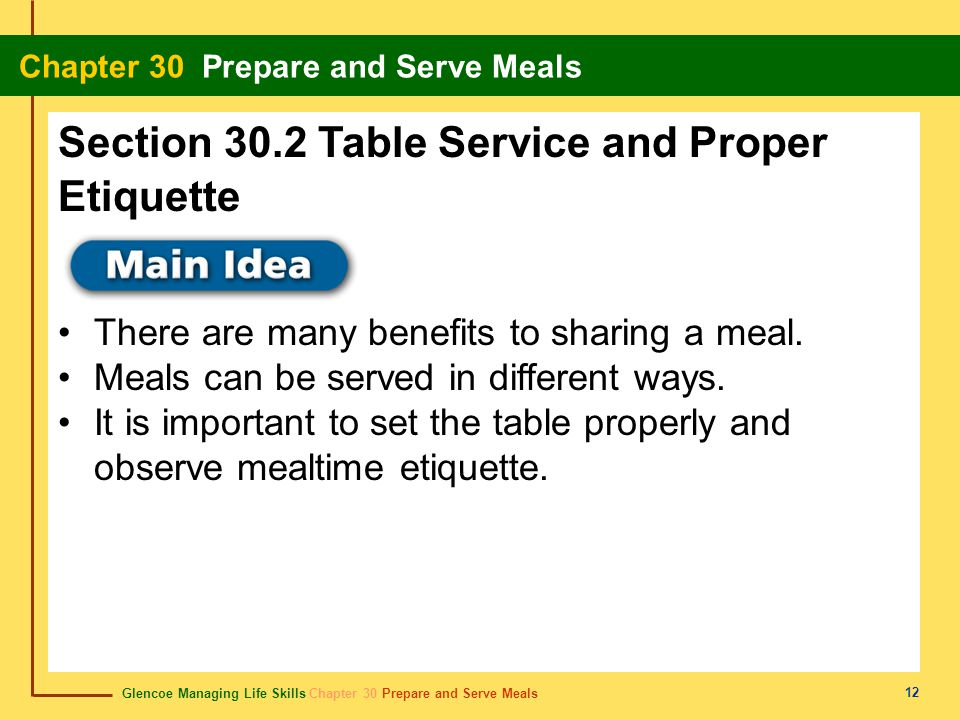 Section 30.2 Table Service and Proper Etiquette