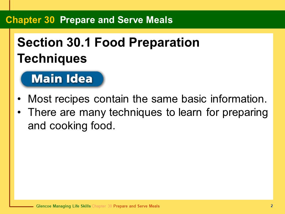 Section 30.1 Food Preparation Techniques