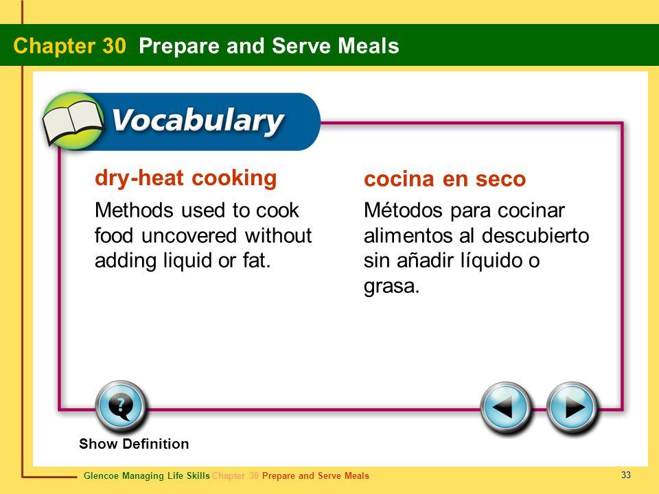 dry-heat cooking cocina en seco